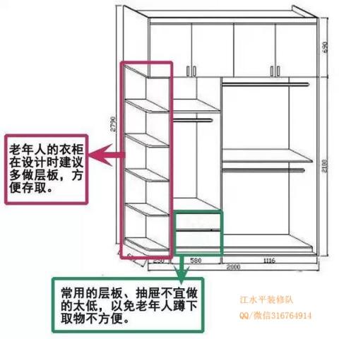 超实用的衣柜内部结构设计图,装修必看