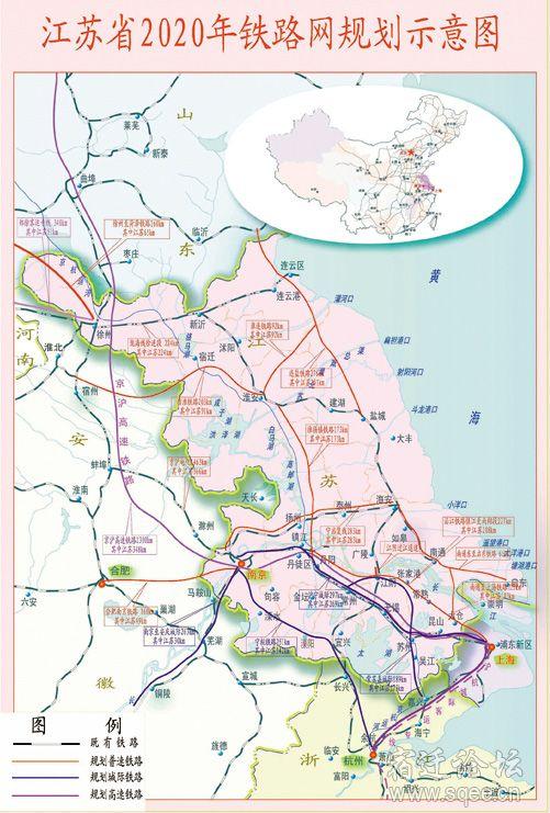 拟增加徐州至宿迁铁路和南京至淮安,连云港铁路,主要承担苏北主要城市